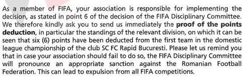 scrisoare FIFA